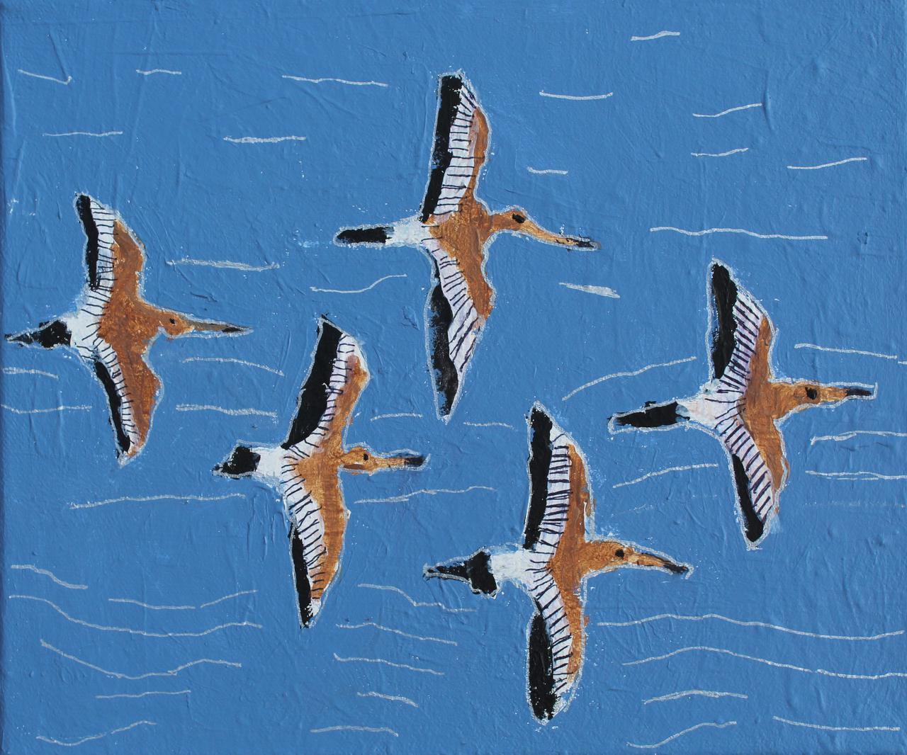 """'Vlucht Weidevogels"""" gemaakt door Ivonne Venis (acrylverf op doek)"""